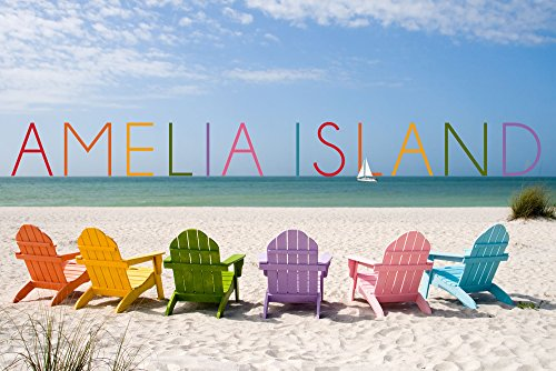 Designs Amelia Apron - Amelia Island, Florida - Colorful Beach Chairs (12x18 Art Print, Wall Decor Travel Poster)