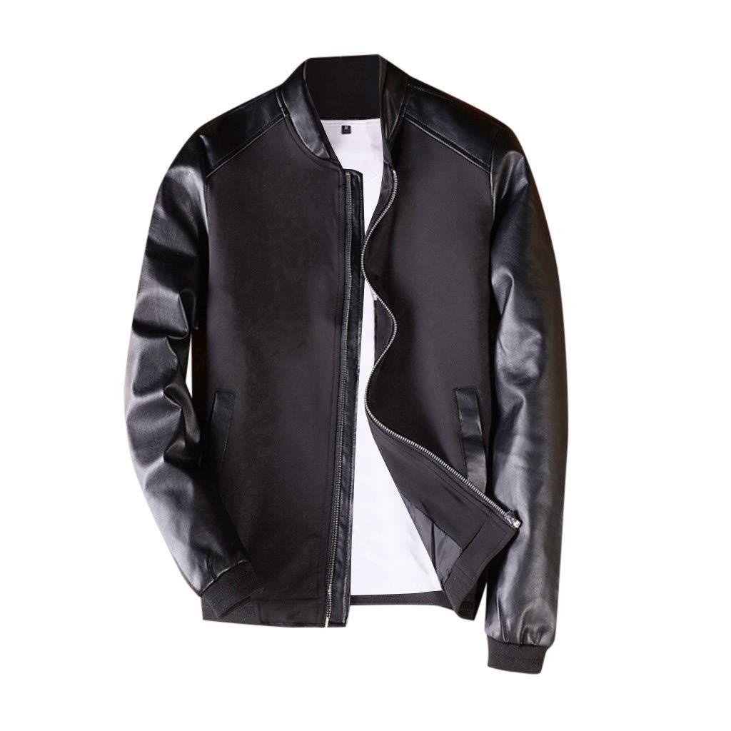 Briskorry Men's Lightweight Casual Bomber Jacket Winter Long Sleeve Patchwork Full-Zip Windbreaker Coat with Pocket Black by Briskorry