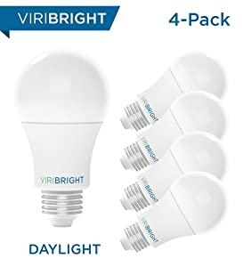Viribright 100W Equivalent LED Light Bulbs, Daylight (6500K) 13W A19, Medium Screw (Edison) Base, 1350 Lumens, Non-Dimmable, General Purpose, UL Listed (4-Pack)