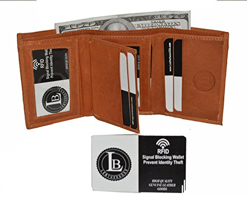 Tan Tri Fold (RFID Blocking Men's Leather Classic Trifold Wallet by Leatherboss (Tan))