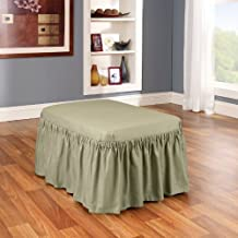 Sure Fit Duck Solid 2-Piece  - Ottoman Slipcover  - Sage (SF33899)