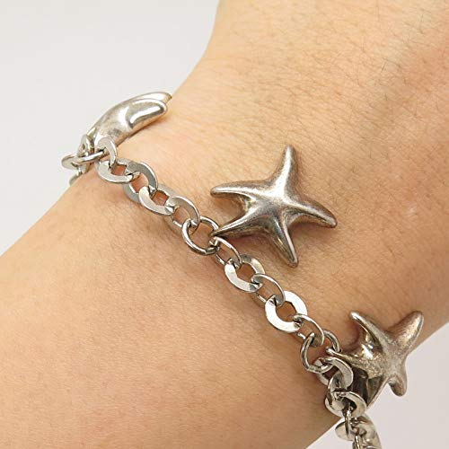 Italy 925 Sterling Silver Dangling Starfish Link Bracelet 7.5