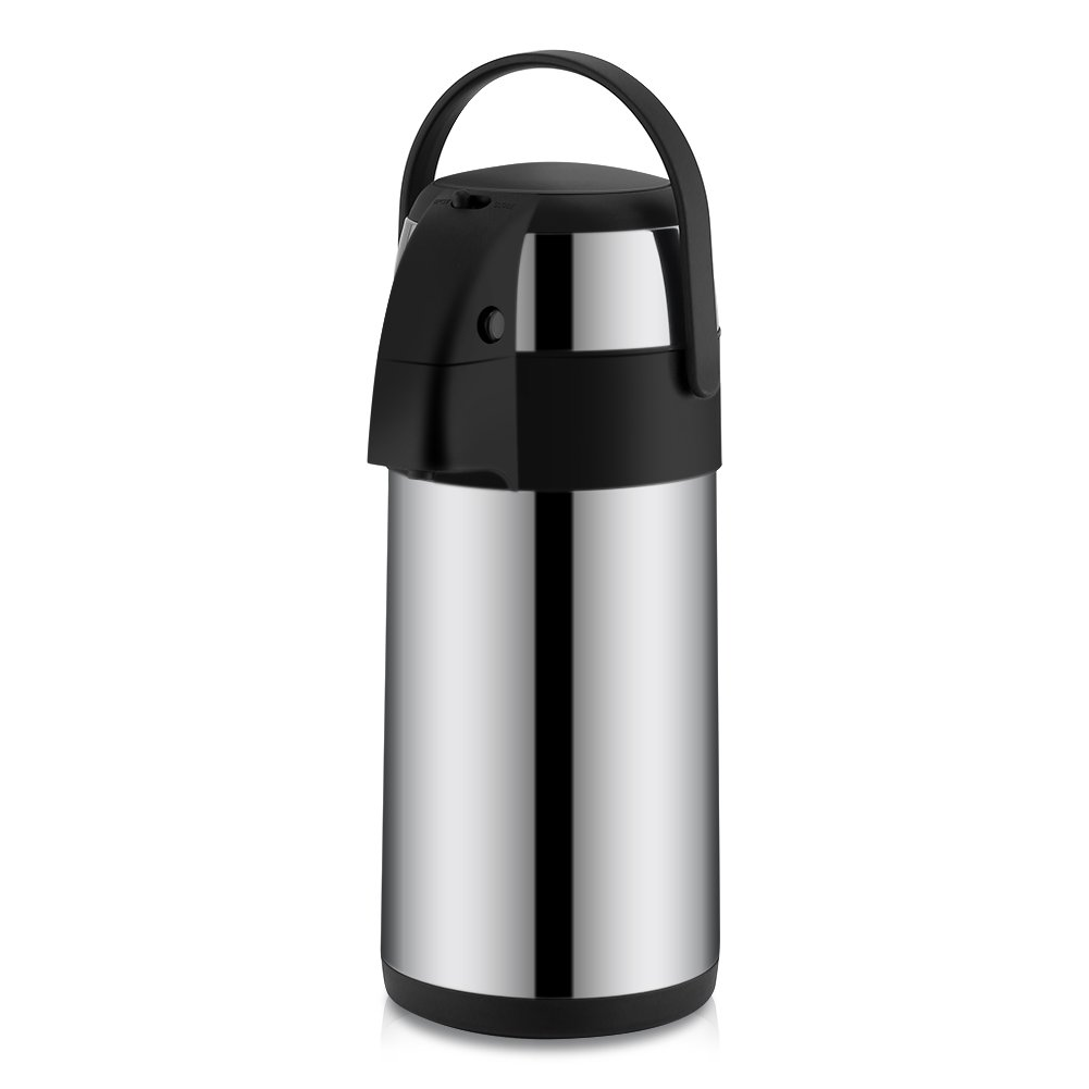 Coffee Airpot, Asixx 3 Liter Airpot Stainless Steel Vacuum Insulated Airpot Coffee Dispenser Airpot Coffee Brewer with Pump(3L)