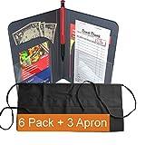 Waiter Book Server Wallet Server Pads Waitress Book Restaurant Waitstaff Organizer, Guest Check Book Holder Money Pocket (6 Pack + 3 Apron (Black))
