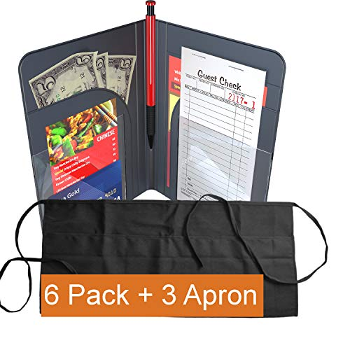 Waiter Book Server Wallet Server Pads Waitress Book Restaurant Waitstaff Organizer, Guest Check Book Holder Money Pocket (6 Pack + 3 Apron (Black)) by Gold Lion Gear