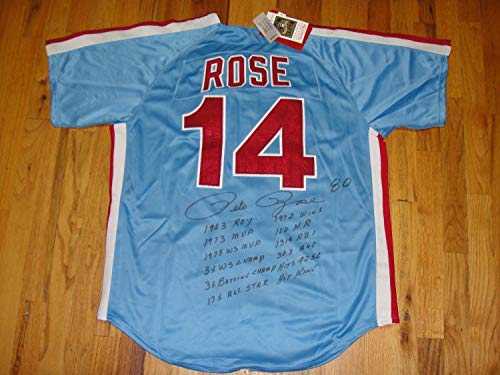 (Pete Rose Autographed Signed Phillies MN Jersey (Size XL) with 13 Autographed Signed Stats - Beckett Certified Memorabilia)