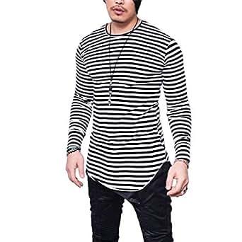 Howely Men Striped Horizontal Stripe Basic Pattern Tee T Shirt Top Black 2XL