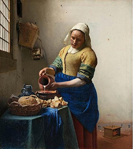 'Johannes Vermeer,The Milkmaid,1657-1658' Oil Painting, 18x20 Inch / 46x51 Cm ,printed On Perfect Effect Canvas ,this Reproductions Art Decorative Canvas Prints Is Perfectly Suitalbe For Powder Room Decor And Home Decoration And Gifts