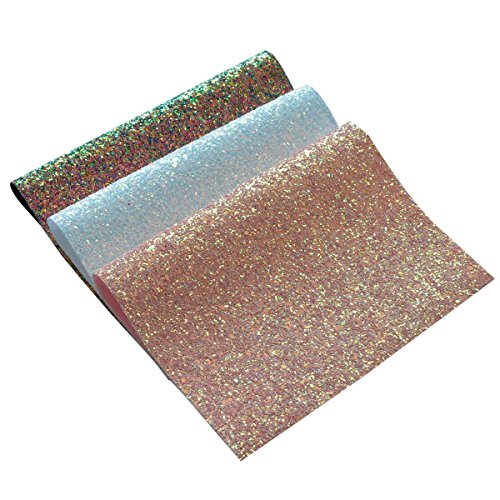 Chunky Glitter Fabric Sheets- 3 Pieces of Assorted Colours 8 x 12 Precut Shiny Thick Canvas Fabric Sheets For Bag Making, Hat Making, Hair Crafts Making, Jewelry Making, Sewing (Mix Color-1)