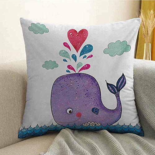Whale Pillowcase Hug Pillowcase Cushion Pillow Cute Smiley Whale with Love Valentines Hearts and Clouds on Sea Kids Print Anti-Wrinkle Fading Anti-fouling W24 x L24 Inch Blue Purple and Red
