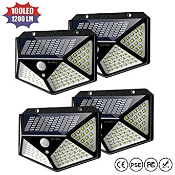 Solar Motion Sensor Lights Outdoor,2win2buy au New Upgraded 100 LED Security Wall Night Light with 【270°Wide Angle】【3 Optional Modes】【Waterproof】 for Garden,Patio Yard,Fence,Deck Garage,Porch -4 Pack