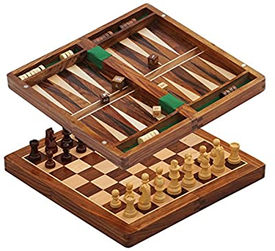 "#1 Chess Set - BKRAFT4U 10 x 10"" Chess Set - Premium Handmade Wooden Foldable Magnetic Chess Game Board with Storage Slots, 10 inch …"