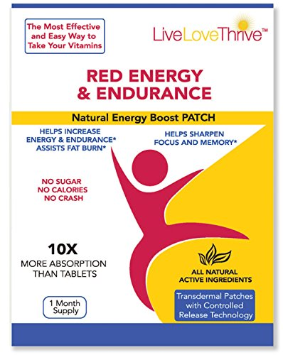 LLT Red Energy & Endurance Patch – Natural Energy – USA Made – 30 Patches