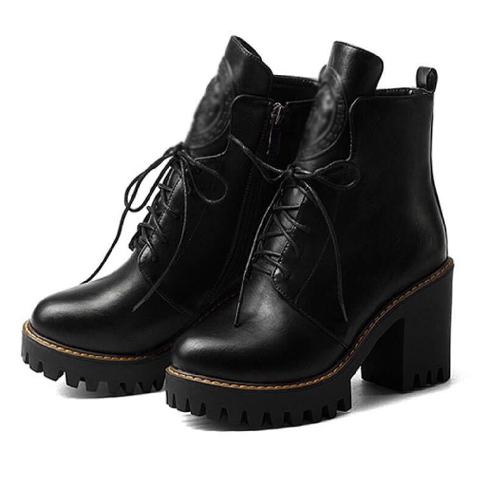 CITW Herbstliche Damenstiefel Rund Um Kopf Kopf Kopf Dick Mit Wasserdichter Plattform Reißverschluss Stiefel Großformat Stiefel,schwarz,UK5 EUR39 82b52f