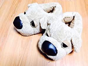 Amazon.com: Cute Big-nose Dog Plush Fuzzy Slippers for