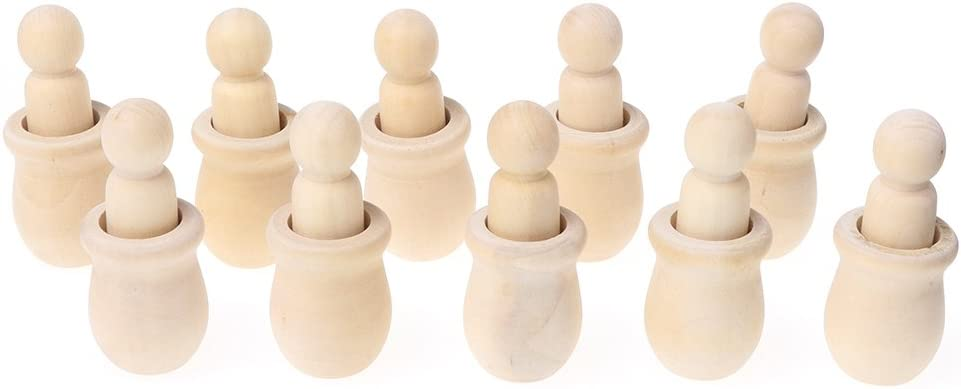 KOVIPGU 10Pcs People Nesting Set Wooden Peg Dolls Unfinished DIY Decor for Paint Stain