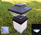 Solar Matte Black Fence Post Cap Lights, Fits PVC 4x4 Posts Only (Colonial Style)– (Set of 12)