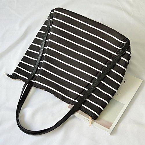 LEODIKA Corea versión de bolsa de mano, Rayado grande bolsa de mano, Impacto colorear, bolso del ocio, bolso de hombro, bolso, bolso grande, marea femenina, Negro y negro de lona rayado (de gran tama Black-and-white Striped Canvas (Medium)