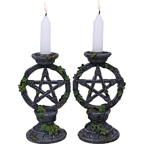 Pacific Trading Wiccan Pentagram Candle Holders Set Of 2 Witch Altar Candleholder Decoration -