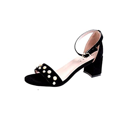 8e5480ec0 Zarbrina Womens Chunky Low Heels Pearls Sandals Square Open Toe Single Band  Adjustable Ankle Strap Shoes