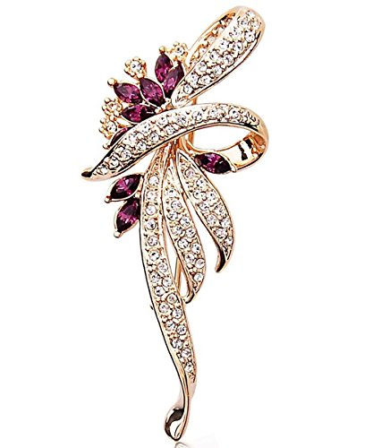Merdia Weekly Promotion 30% Discount Fancy Vintage Style Brooch Pin Created Crystals Brooch for Women with Purple Created Crystal -