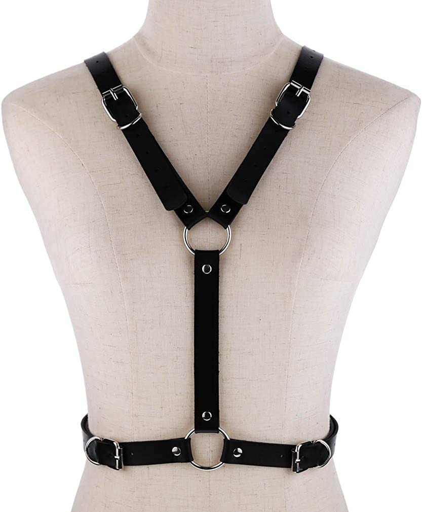 Women Leather Harness Waist Belt Cage Bra Top Chest Strap Wings O-Ring Lingerie