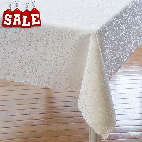 Turkish Tablecloth Polyester Table Linen - Stain Resistant Wrinkle free Non-Iron Oblong Square Round – dining Table cover for Wedding Christmas New Year eve Gift (IVORY, Rectangle 60