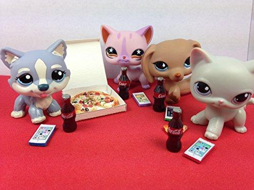 LPS Accessories Food Pizza Party Littlest Pet Shop 17 pc. Lot Set: 4 Phones, 4 Cokes, 8 Pizza Slices, 1 Pizza box; PET NOT INCLUDED
