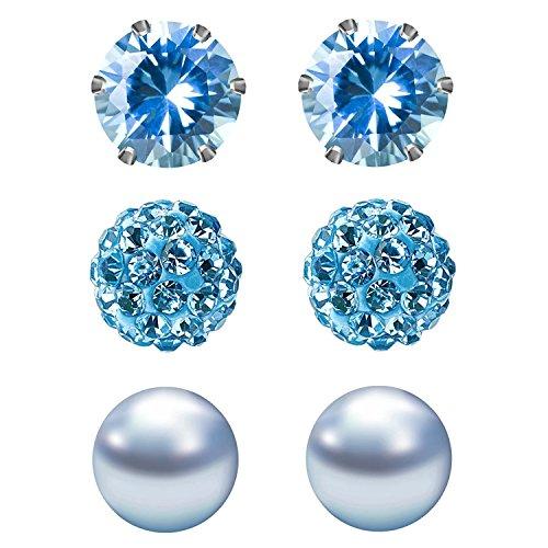 JewelrieShop Cubic Zirconia Rhinestones Crystal Ball Faux Pearl Birthstone Stud Earrings for Women Girls - Hypoallergenic Stainless Steel Earrings - 3 Pairs - Light Blue (Mar.)