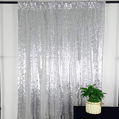 HeMiaor Photo Booth Backdrop Sequin Wedding Background, Silver Sequin Fabric Silver Sparkly Wedding Curtains -5ftx7ft ()
