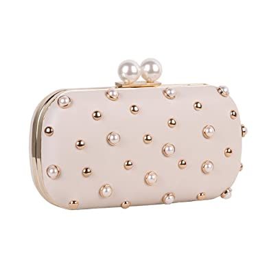 a75d3663af Pearls and Studs Clutch Purse Handbag with Gold Metal Fittings for Women