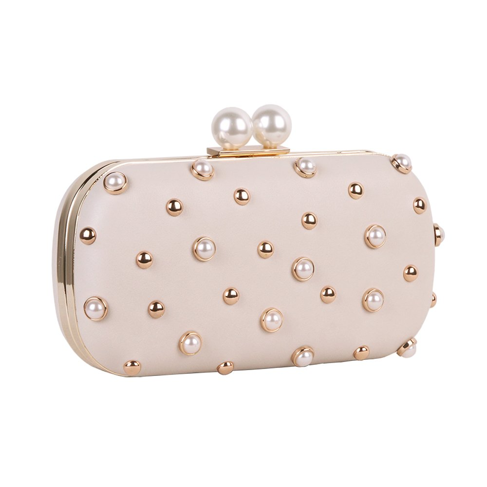 Pearls and Studs Clutch Purse Handbag with Gold Metal Fittings For Women, Crossbody Evening Bag in Hardcase with Strap Chain For Party (Beige)