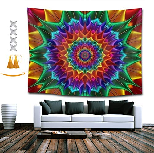 NiYoung Tie Dye Classic Kaleidoscope Tapestry, Bohemian Wall Tapestry Wall Hanging Tapestry - Wall Indian Decorations Wall Art Living Room Bedroom Dorm Room 60 x 80 inches