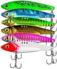 Facikono Fishing Lures Metal VIB Hard Swimbait for Freshwater Saltwater Bass Walleye Trout Fishing - 6pcs