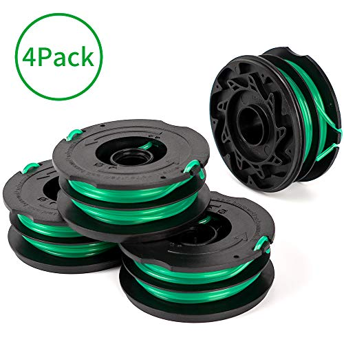 X Home Trimmer Replacement Spools Compatible with Black Decker GH1000 GH1100 GH2000 Weed Eater String, DF-080 Spool Line Refills, Dual Line Edger Parts 30ft 0.080 inch Auto-Feed (4 Pack spools)