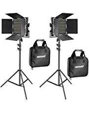 Neewer 2 Pieces Bi-color 660 LED Video Light and Stand Kit Includes:(2)3200-5600K CRI 96+ Dimmable Light with U Bracket and Barndoor, (2)78.7 inches Light Stand for Studio Photography Video Shooting