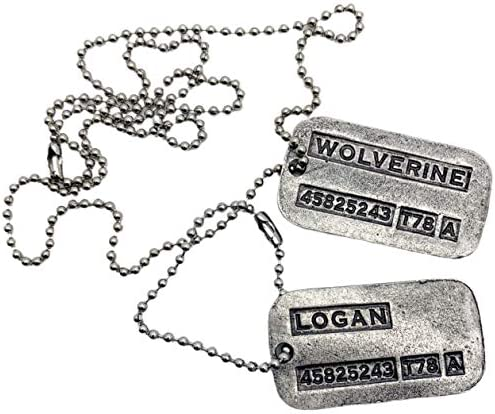 'Wolverine' Logan Military Dog Tags – Movie Costume Cosplay Prop – Stainless Steel Chains&Silencers Included