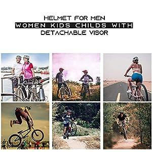 BLJS Casques De Vélo pour VTT, Casque De Hoverboard De Scooter De Planche À roulettes pour La Sécurité D'équitation Léger Réglable, Casque pour Hommes Femmes Enfants Enfants