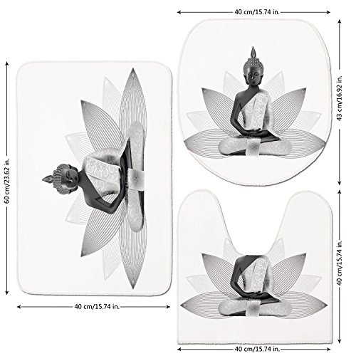3 Piece Bathroom Mat Set,Asian,Meditating-Statue-Silver-Color-on-Lotus-Background-Far-Eastern-Asian-Sage-Art-Print-Decorative,White-Grey.jpg,Bath Mat,Bathroom Carpet Rug,Non-Slip (Sage Silver Rug Outdoor)