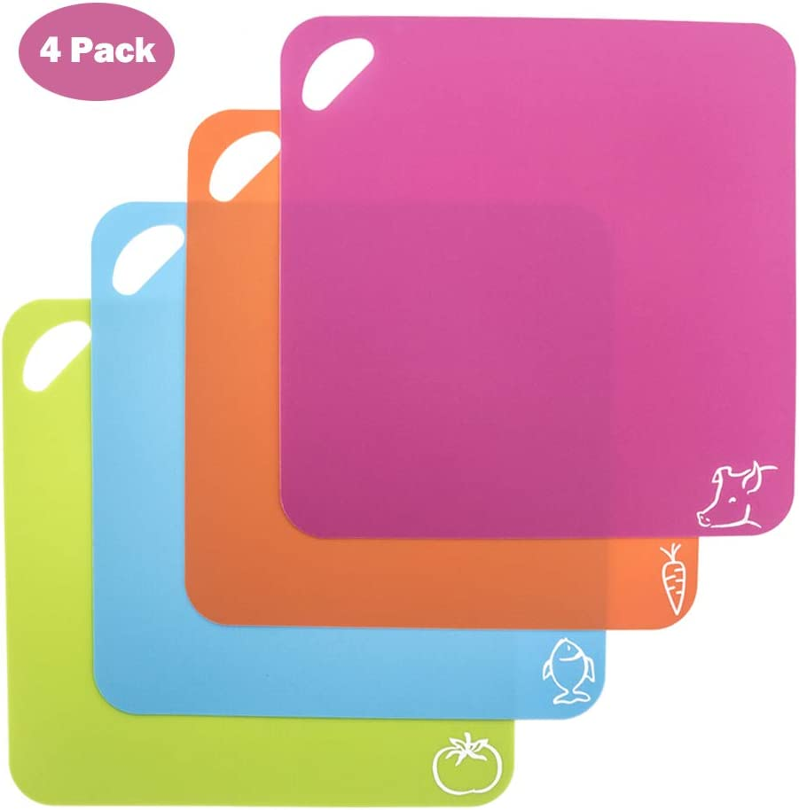 M4Y Flexible Cutting Mat, Square Shape Cutting Boards for Kitchen, Easy Grip Handle, 4 Packs, 4 Colors for Multiple use as Cutting Mat, BPA Free, Dishwasher