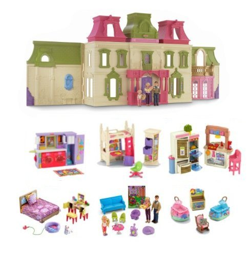 Fisher Price Loving Family Dream Mega Set Dollhouse w/ Dolls & Furniture by Fisher-Price