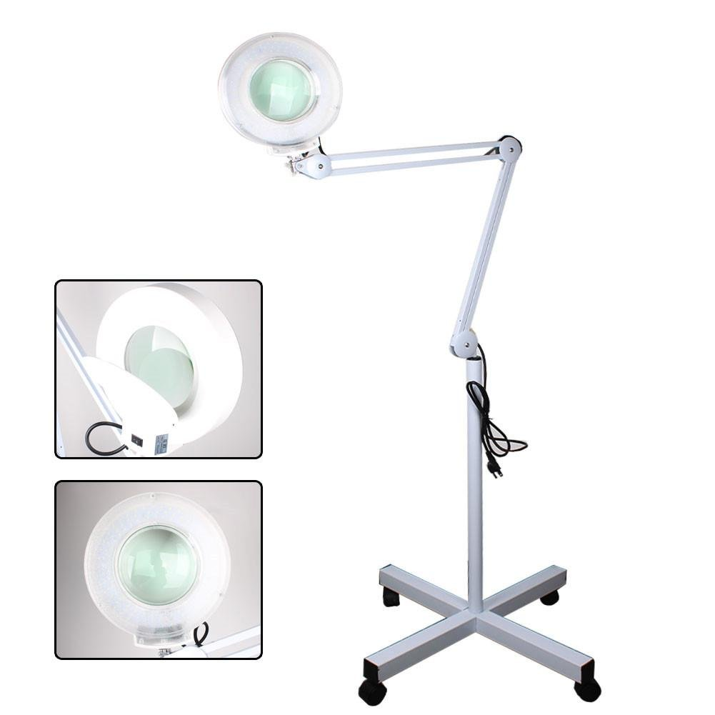 8X LED Magnifier Lamp Adjustable Rolling Floor Stand Magnifying Glass Diopter Lens for Professional Use and Beauty Manicure Tattoo (White)