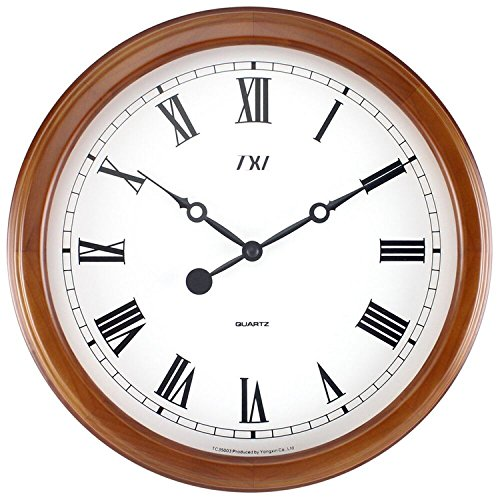 Mahogany Wood Frame Wall Clock (TXL Classic Clock Quiet Sweep Mahogany Wooden Pattern Easy to Read,Battery Operated 14 Inch Wall Clock Roman)