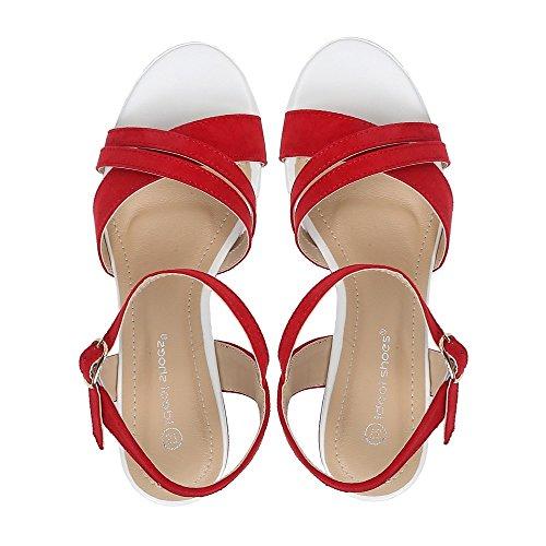 Ideal Shoes Kompensiert Sandale Effekt Wildleder Tessie Rot