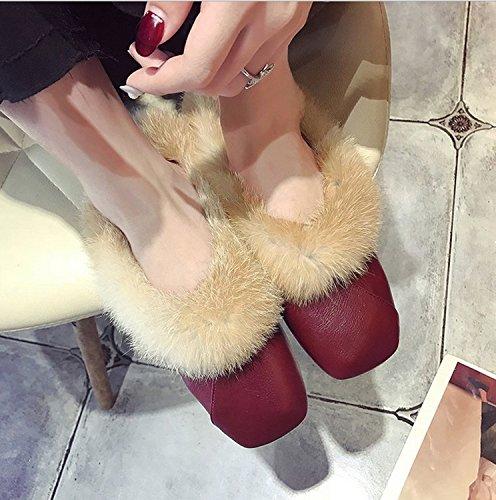 de Zapatos Cuadrada Zapatillas de otoño Invierno de DANDANJIE Rojo Negro Punta marrón caseros Felpa Rojo de Zapatos e Mujer zCaC0qw