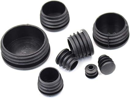 5 piezas tapones para tubos redondos tapas 25 negro pl/ástico tapa de extremo tapas