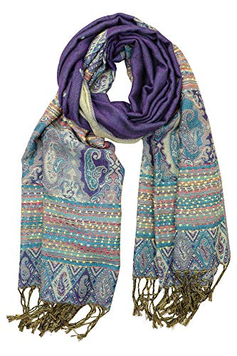 Achillea Soft Silky Reversible Paisley Pashmina Shawl Wrap Scarf w/Fringes (Ethnic Purple)