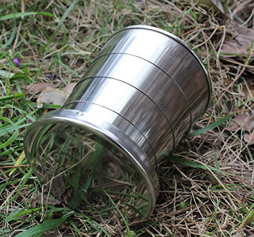BeesClover Wholesale 150ML Stainless Steel Portable Mini Travel Retractable Cup Keychain Folding Collapsible Cup Show by BeesClover (Image #6)