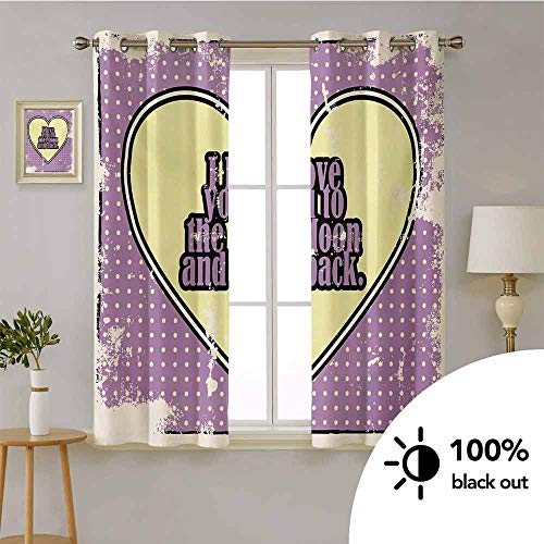 I Love You -Room Darkening Thermal Insulated Drapes Vintage I Love You to The Moon and Back Typography in Cartoon Grunge -Energy Efficient for Living Room W72 x L45 Inch Pale Yellow Purple
