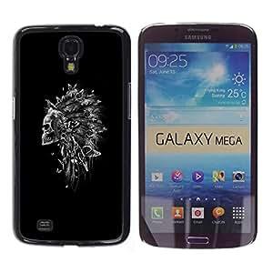 Shell-Star Arte & diseño plástico duro Fundas Cover Cubre Hard Case Cover para Samsung Galaxy Mega 6.3 / I9200 / SGH-i527 ( Indian Feather Headdress Black Skull )